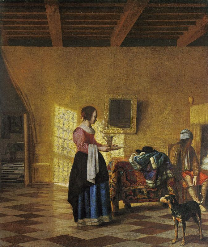 Pieter de Hooch. Woman with a Water Pitcher, and a Man by a Bed ('The Maidservant')
