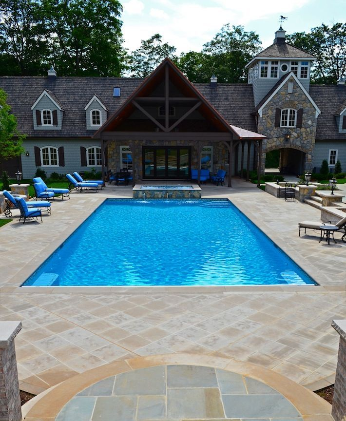 inground swimming pools far hills nj inground swimming pool awarded for design - Inground Pool Patio Ideas