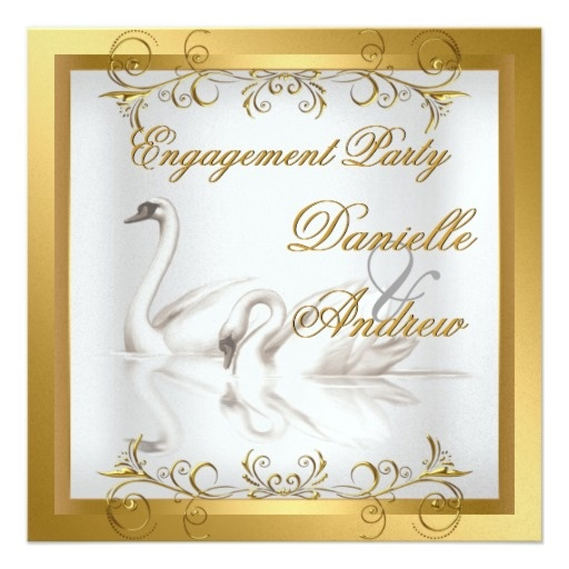 Engagement Swans Gold White Elegant Party Custom Invites