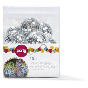 10 LED Colour Changing Mirror Ball String Lights