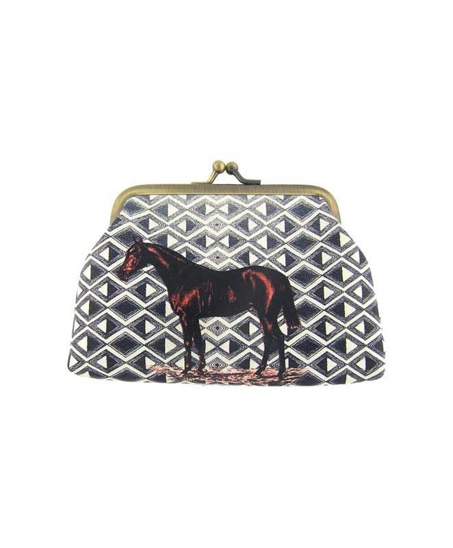 Made with SGS tested toxic-free faux/vegan leather, this vintage style kiss lock frame faux/vegan leather coin purse features lovely Horse on ikat style print by Mlavi Studio. Wholesale available at http://mlavi.com/mlavi-animal-themed-vegan-bag-wallet-and-accessories-wholesale.html