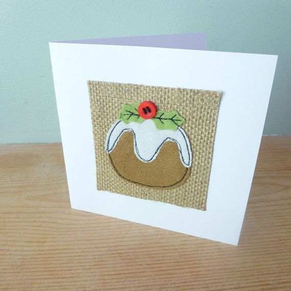 Appliqued Christmas pudding card. As I hand cut and then sew the details using free motion machine embroidery , your card may differ slightly to the cards pictured.  Left blank inside for your own message and comes with matching white envelope  White card measures approx 5 inches x 5 inches