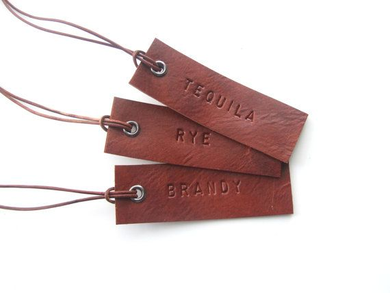 Set of 3 Decanter Tags Hand Stamped Leather Tags Gift by noraklotz