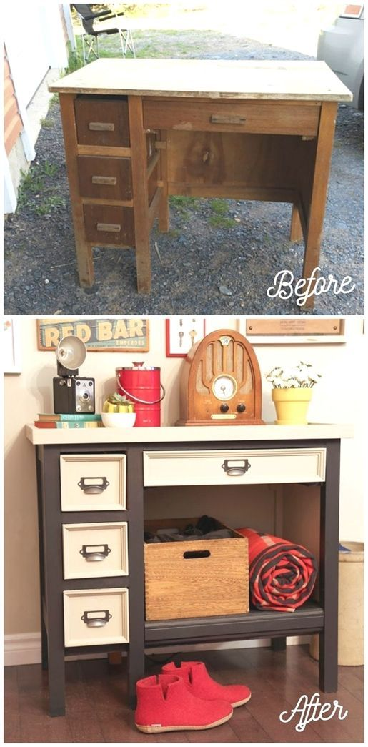 Before and After old desk makeover. I like that they added a shelf for the unused space. #FurnitureMakeover – #added #desk #FurnitureMakeover #makeover #recuperation #Shelf #space #unused