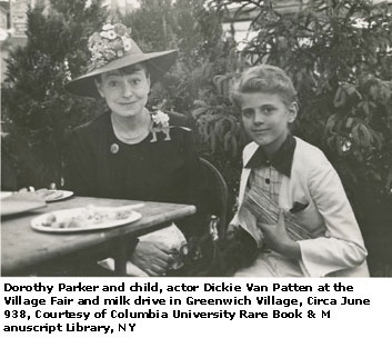 June 1938: Writer Dorothy Parker with child actor Dickie Van Patten (later known as Dick Van Patten of 'Eight Is Enough') in Greenwich Village.