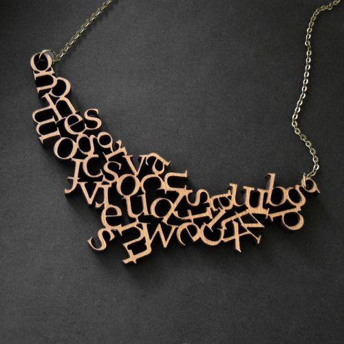 Little Red Lantern's wooden alphabet necklace