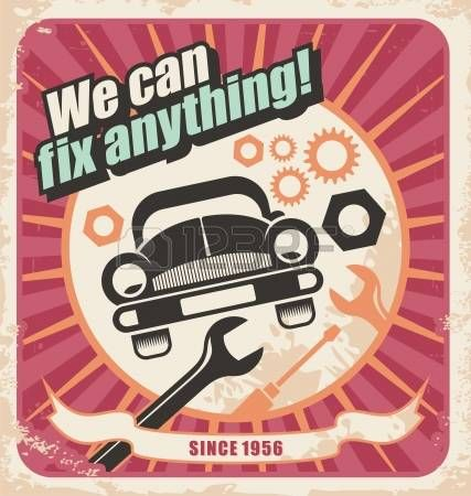 auto repair: Auto service retro poster