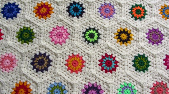 Crochet Throw Double Bed Throw King Size Bed. Available to buy from https://www.etsy.com/uk/shop/Phoenixsmiles. There's lots more colorful creations in store, why not take a look?