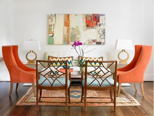 living room with pops of orange design leigh olive mowryolive interiors i like the chair groupings