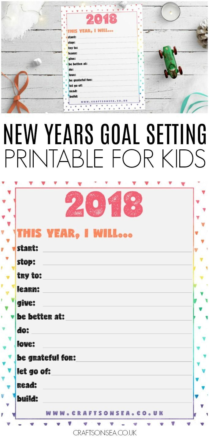 new years goal setting printable for kids newyear newyearseve printable kidsactivities goalsetting