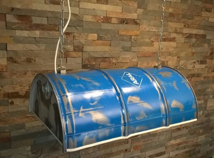 h ngelampe oelfass fass lampe aral blau industrie. Black Bedroom Furniture Sets. Home Design Ideas