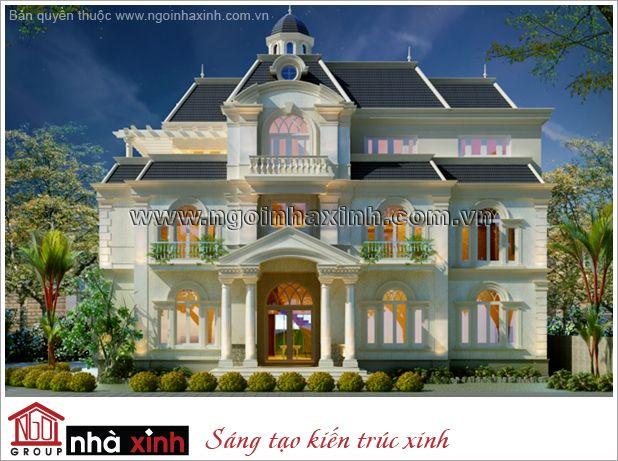 Mẫu biệt thự đẹp là một công trình điển hình của phong cách kiến trúc tân cổ điển. Ngoại thất biệt thự được trang trí bằng hệ thức cột cổ điển hay những chi tiết phù điêu hoa văn cách điệu tạo vẻ đẹp vững chãi, bề thế