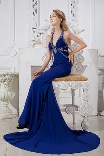 Chiffon Romantic V-Neck Prom Gowns wr1808 - http://www.weddingrobe.co.uk/chiffon-romantic-v-neck-prom-gowns-wr1808.html - NECKLINE: V-Neck. FABRIC: Chiffon. SLEEVE: Sleeveless. COLOR: Blue. SILHOUETTE: Sheath/Column. - 155.59