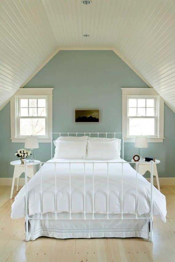 This is the color Ken and I painted our bedroom. Quiet Moments from Ben Moore with White Dove trim. Very soothing and tranquil color.