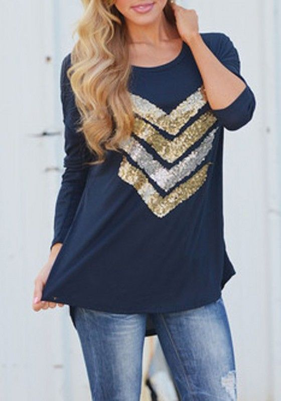 Navy Blue Patchwork Sequin Round Neck Long Sleeve T-Shirt