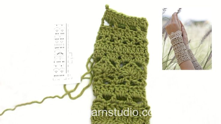 How to crochet the wrist warmers in DROPS 167-9