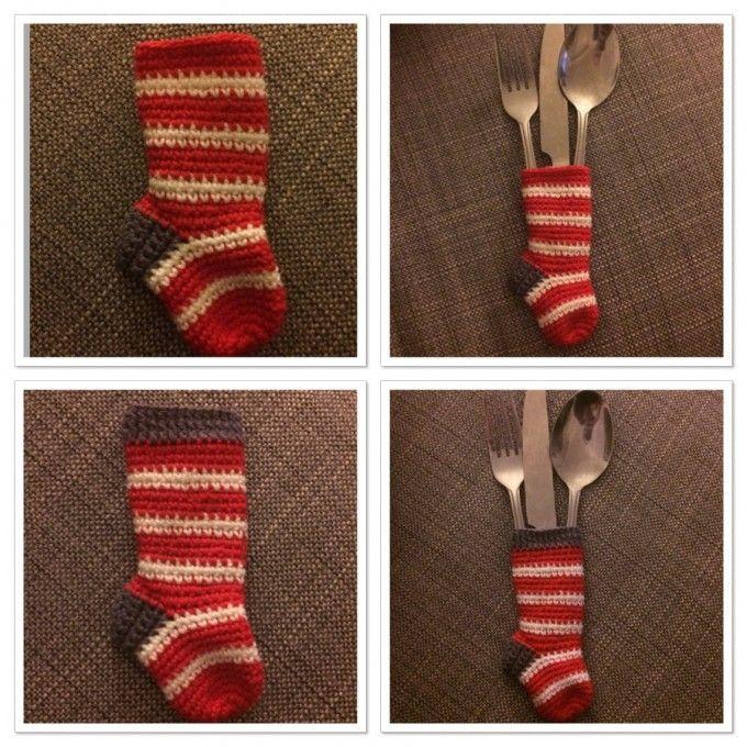 Strømpe til bestik - Small sock for cutlery