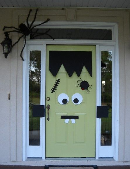 Even your front door can have it's own Halloween costume! Here we have Frankenstein's monster... Reusable every year if you make the pieces out of felt. (You can wash them if it rains!) And if your front door isn't green, cover it in green wrapping or construction paper temporarily.