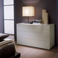 Italian Chest Of Drawers  #Enea is a #series of #different #chest of #drawer units for the #bedroom. The table top and #drawer front panels are in #tempered l#acquered #glass in #white, #ivory, #coffee, #dark #brown or #green.