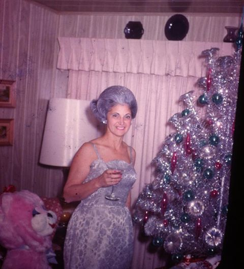 When your hair matches your Xmas tree 60s found photo print christmas silver tinsel dress brocade gown cocktail vintage
