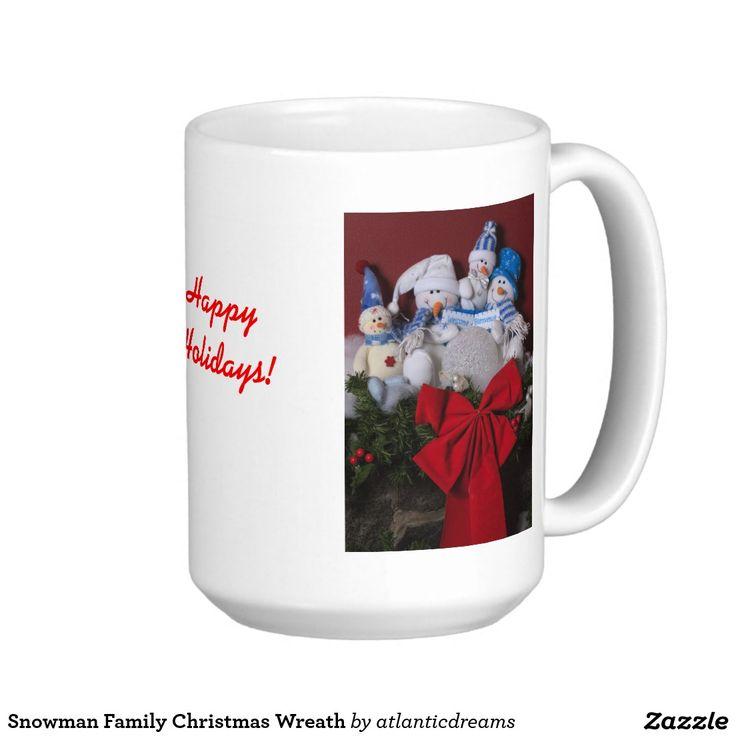 Snowman Family Christmas Wreath Classic White Coffee Mug