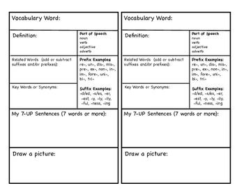Vocabulary Journal Card- I like these choices for a vocab journal