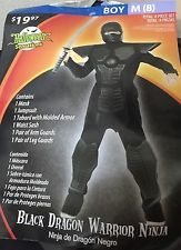 Ninja Costume Black Dragon Ninja Warrior Boys Size 8 Renaissance Halloween