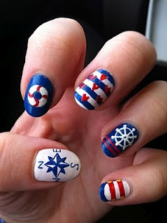 Sailor nails, just sail away with me. Great nautical nails for the summer! Patriotic too. repinned by eyecandy84