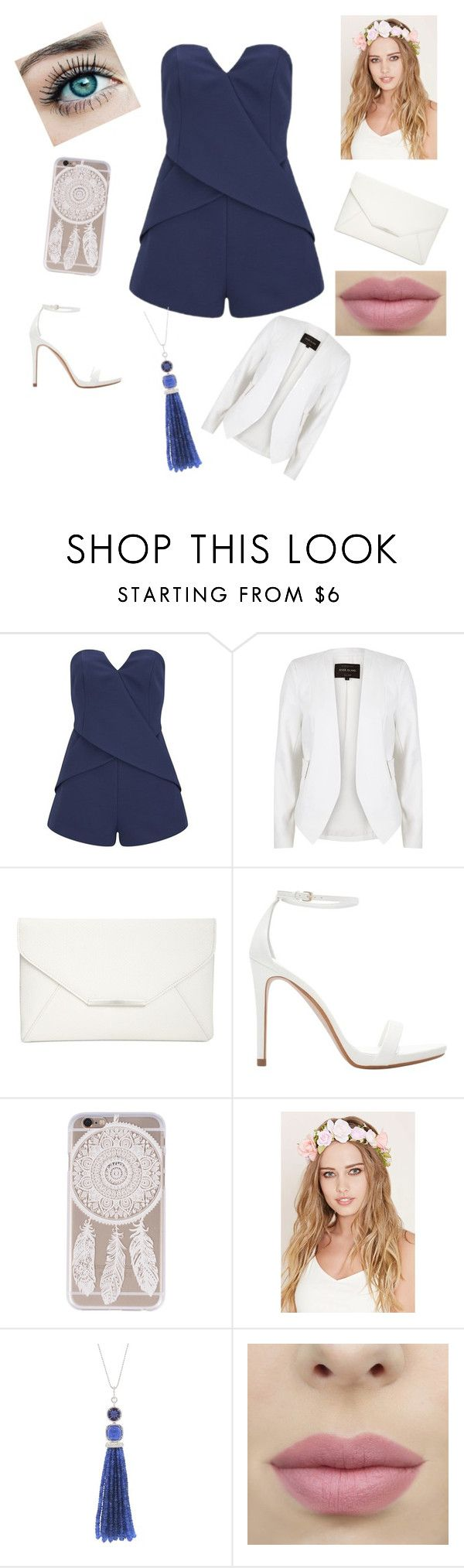 """""""Bleu et blanc"""" by frenchmode ❤ liked on Polyvore featuring Finders Keepers, River Island, Style & Co., Zara, Forever 21 and Sharon Khazzam"""