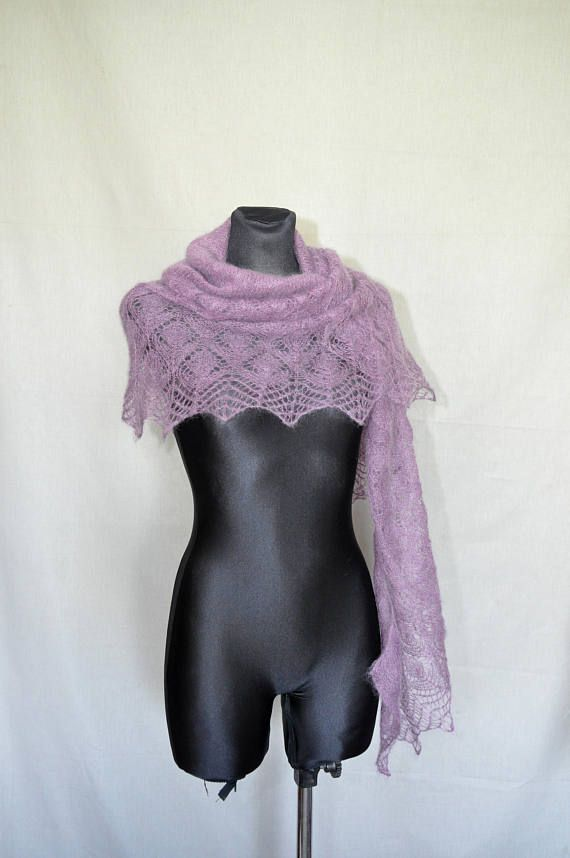 Lavender Knit Shawl Purple Hand Knit Shawl  Lilac Knitted