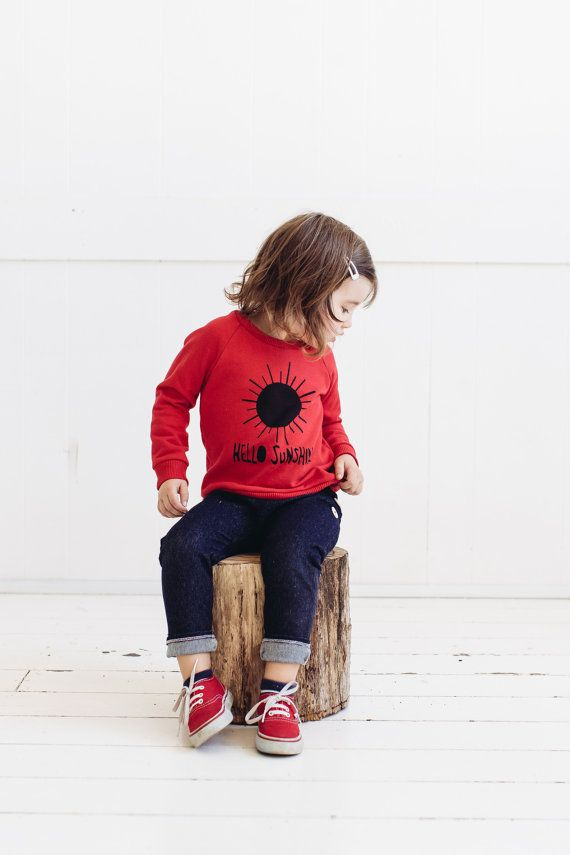 Hello Sunshine red kids sweater by PaulandPaulaShop on Etsy