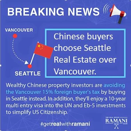 Wondering how the foreign buyers tax and the New reporting rules for primary residence is affecting the real estate market? The answer is Seattle! And our American neighbors are welcoming them with open arms and lots of perks! #getREALwithRAMANI