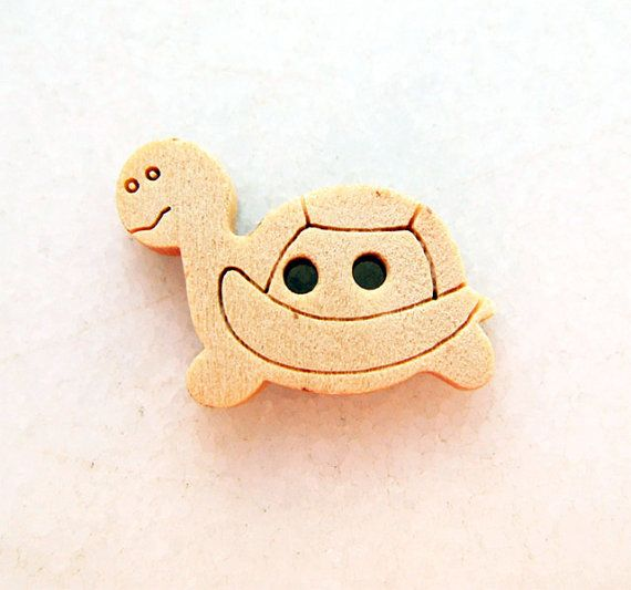 Cute Turtle  Wood Buttons Children Buttons Sewing by nezoshop, $2.45