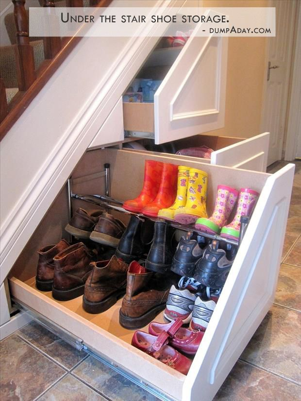 Under the stairs pull out shoe storage