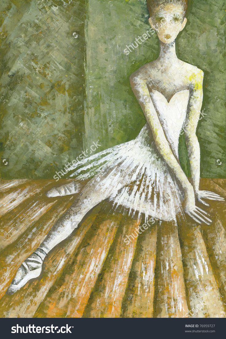Pretty Ballet Dancer Girl by Eugene Ivanov. #eugeneivanov #elegant #woman #portrait #lady #painting #art #nude #cubism #girl #female #femina #@eugene_1_ivanov