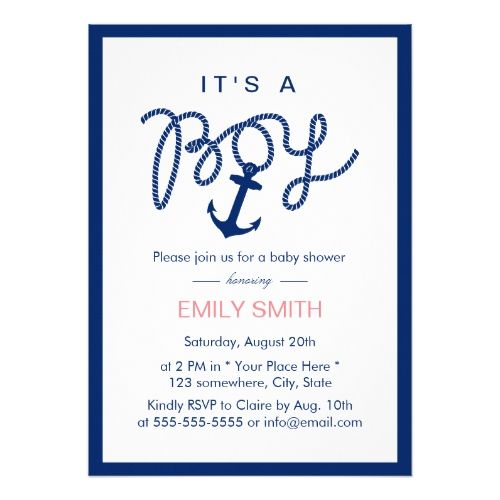 Nautical Boy Navy Blue Anchor Baby Shower Invitation | Zazzle.com