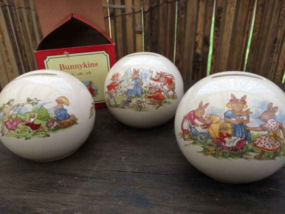 3 Royal Doulton Bunnykins Money Balls Never Used. One With Original Box. Christening Gift. Collectible Bunnykins Money Balls VCH0068/1/2