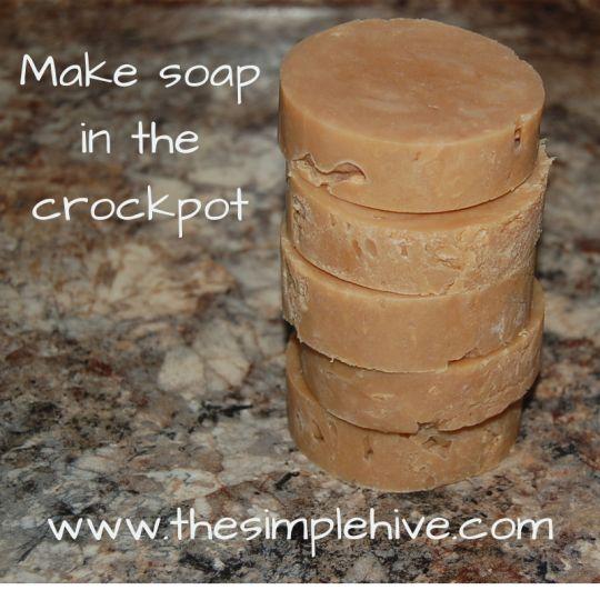 Goat milk & honey soap in the crock pot.