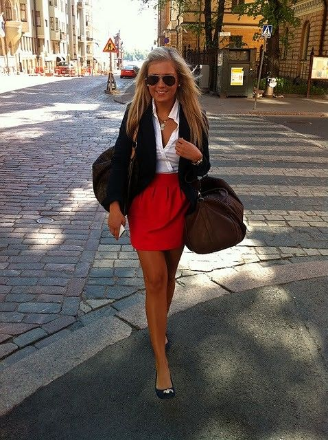 high waist skirt; button down; blazer; flats