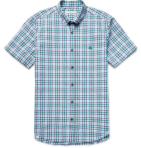 Brit Campton Slim-Fit Checked Cotton-Seersucker Shirt   MR PORTER
