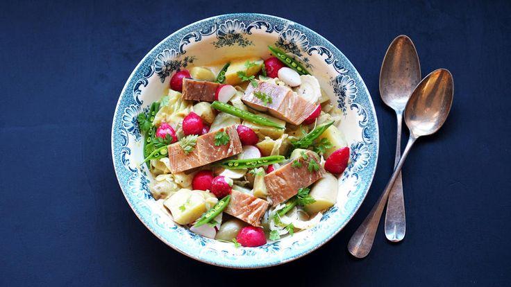 Potetsalat med røkt makrell