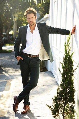 Men's White Dress Shirt, Black Blazer, Dark Brown Leather Belt, Black Dress Pants, and Brown Leather Derby Shoes