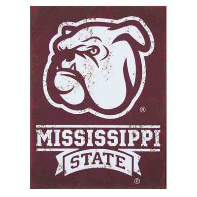 "Mississippi State Distressed Metal Sign Material: Metal Size:  11.75"" x 15.75"" Mississippi State with picture of bulldog Licensed collegiate product  Arriving Soon!"