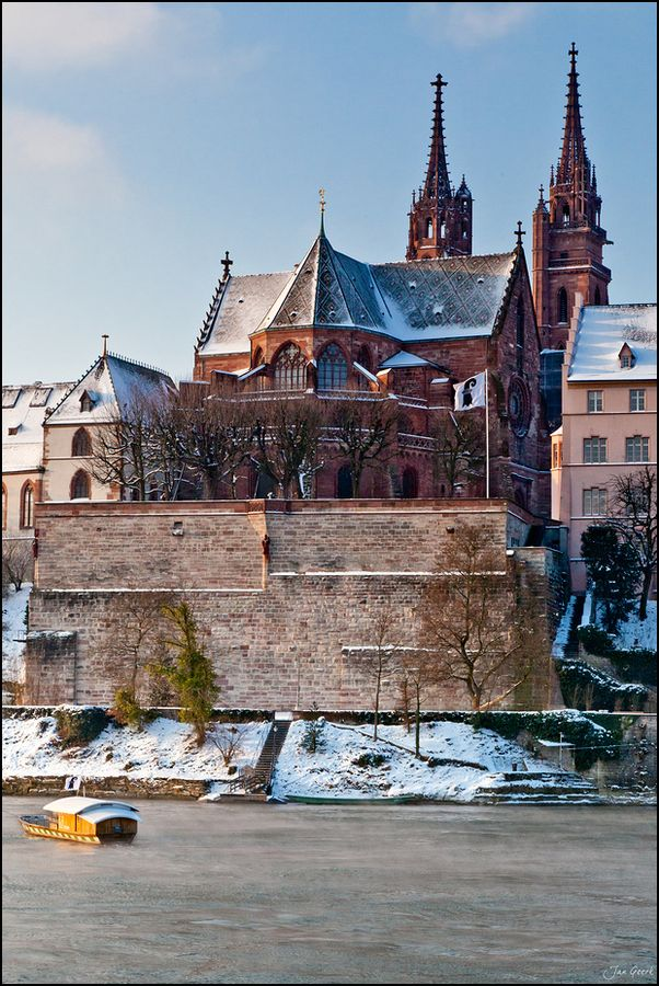 Basel, Switzerland. I have been at the top of that cathedral, walked along that back wall, and crossed the River Rhine on that exact boat! La!