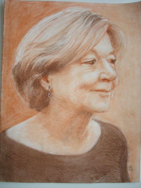 Getekend portret naar foto. Sepia contékrijt op door zaanarts