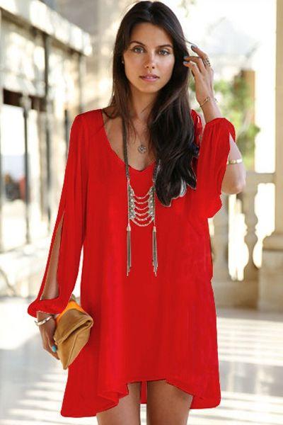 Solid Color Off-The-Shoulder Chiffon Dress