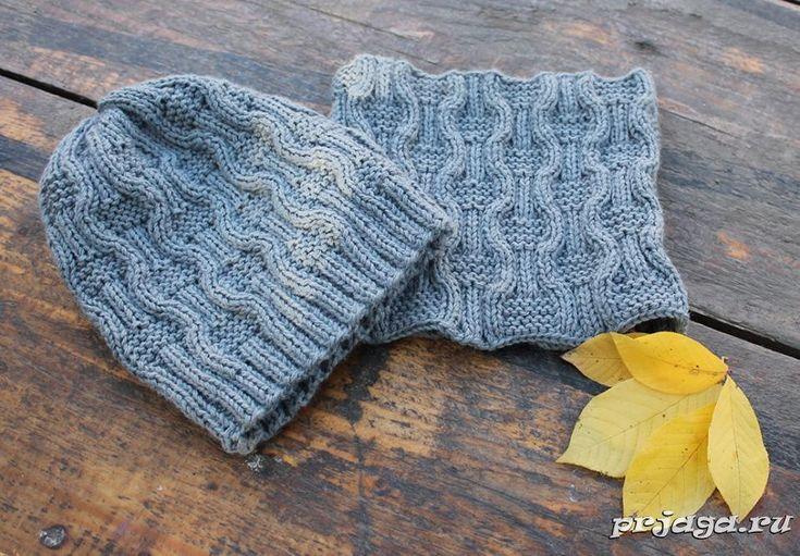 Комплект «Дорожки» - шапка и снуд спицами для мальчика
