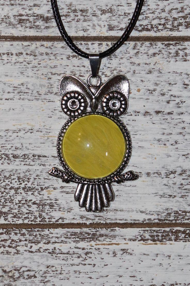 Owl pendant necklace with fluid paint design