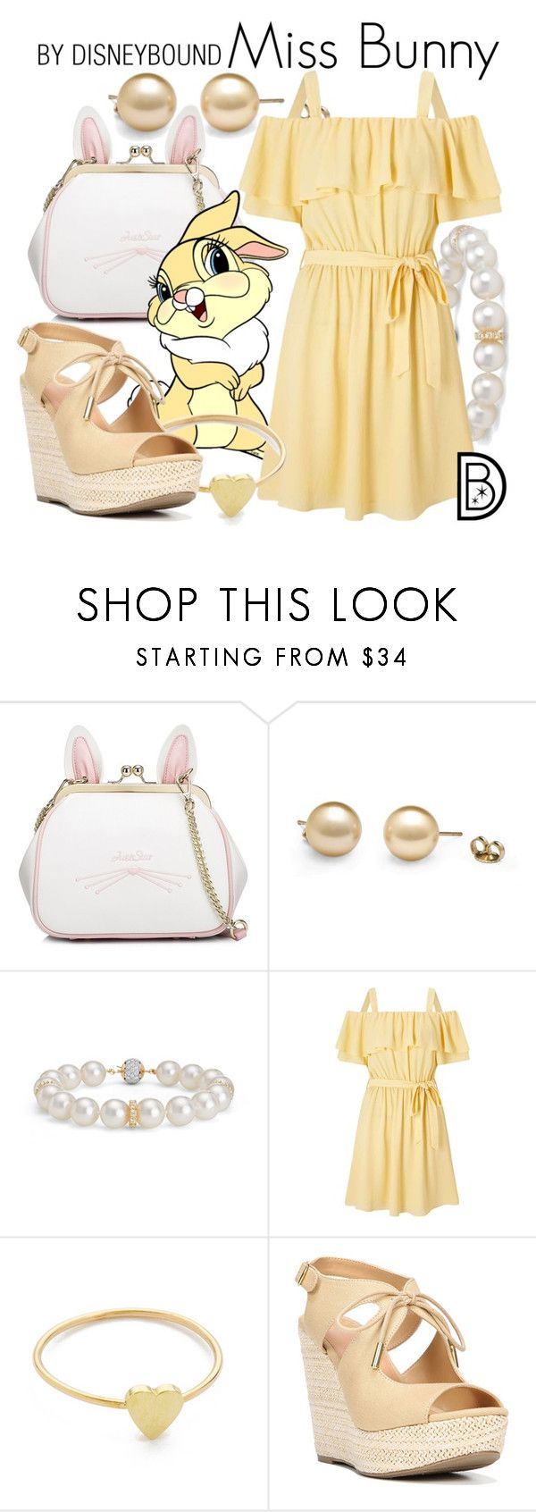 """""""Miss Bunny"""" by leslieakay ❤ liked on Polyvore featuring WithChic, Blue Nile, Miss Selfridge, Jennifer Meyer Jewelry, Fergalicious, disney, disneybound and disneycharacter"""