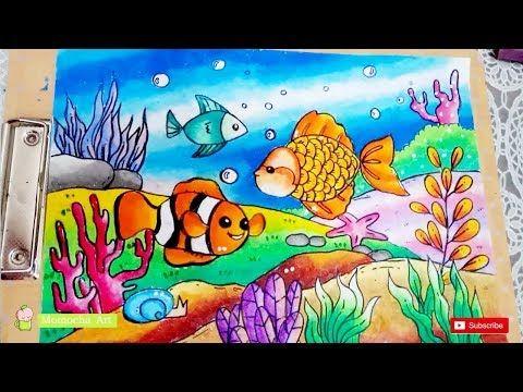 Cara Gradasi Warna Dengan Crayon Oil Pastel Menggambar Pemandangan Laut Drawing Bottom Of Sea Youtube Lukisan Proyek Seni Gambar Kartun